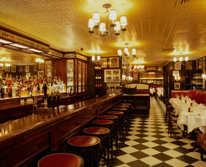 Cozy interior of Minetta Tavern.  It's probably never this empty except when closed!