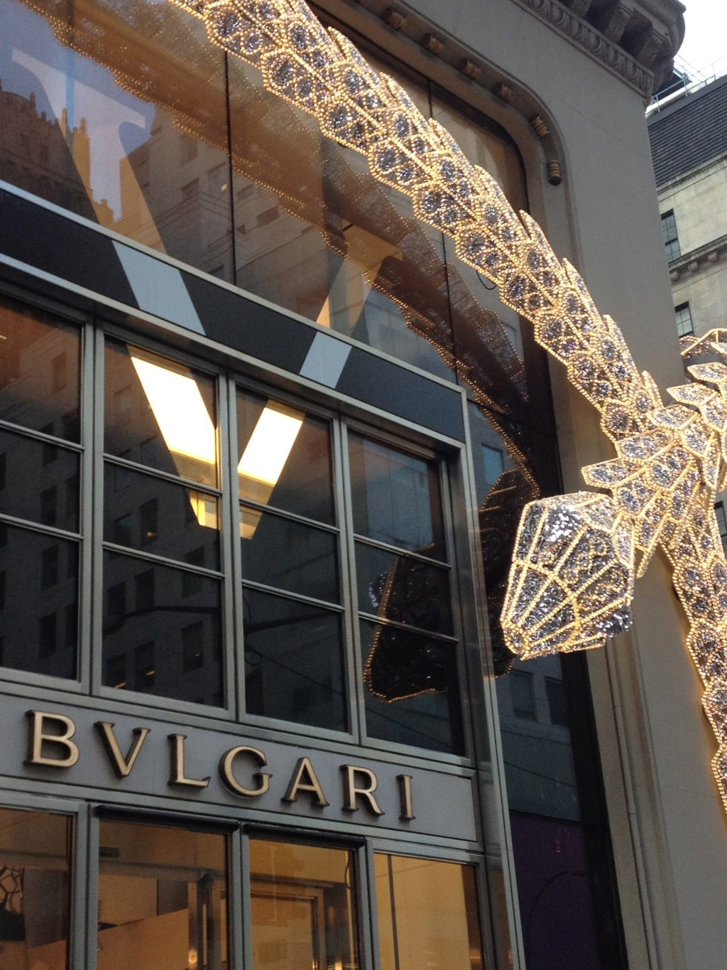 Now that's how I like my snakes...Bulgari store front, NYC.