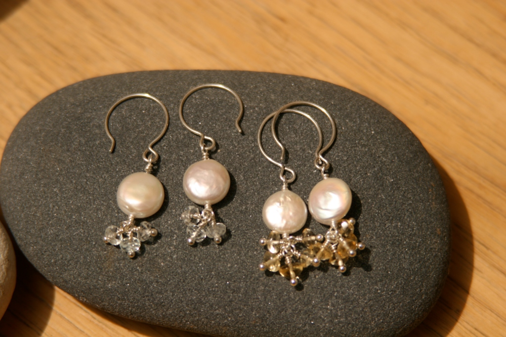 Cluster Earrings using Coin Pearls and Semi Precious Stones.  Who knows where your designs will take you!
