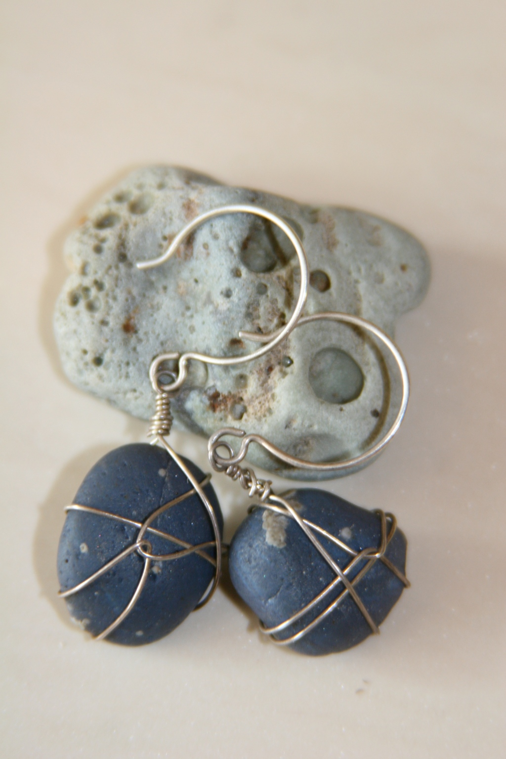 French ear wires used with Leland Blue Stones for one of a kind earrings.